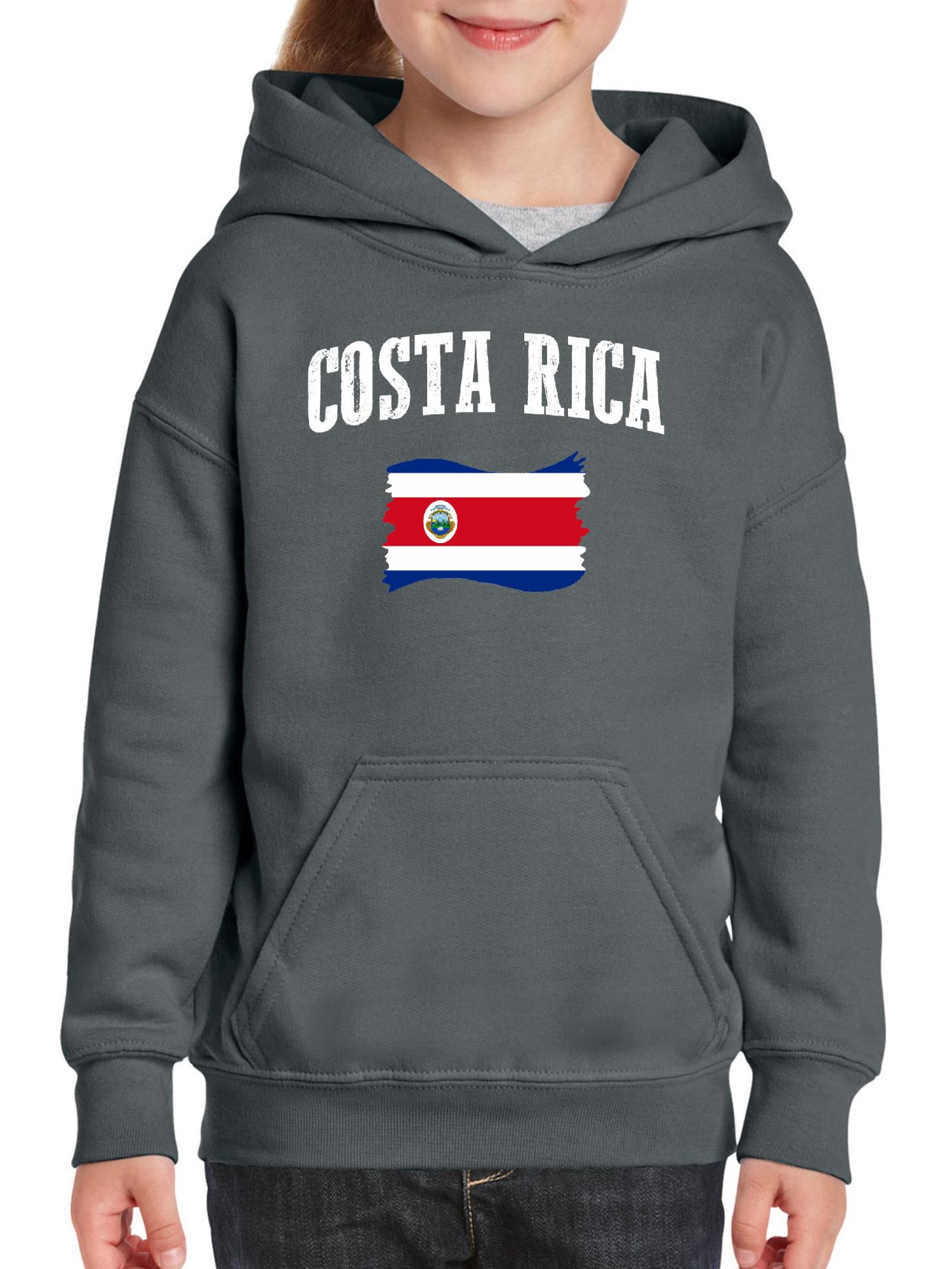 Mens Costa Rica Flag Dog Paw Hooded Fleece Winter Cotton Sports Pullover with Pocket for Men