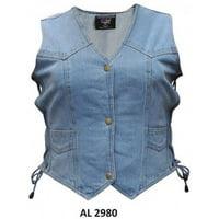 Ladies Girls Fashion Medium Size Bike Riding Style Blue Denim Vest 2 Front Pockets With Side Laces