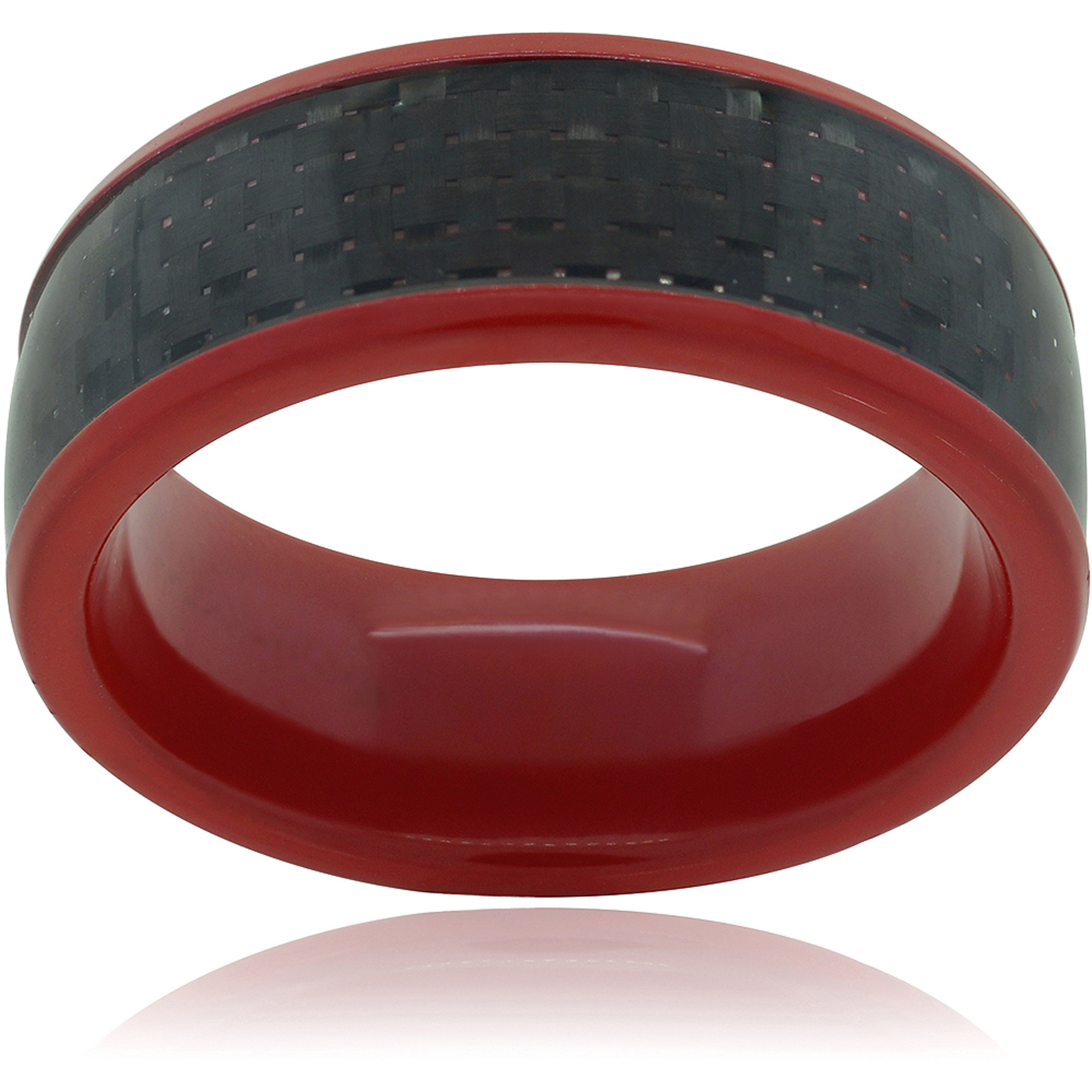 Daxx Men's Titanium Carbon Fiber Inlay Pipe-Cut Fashion Ring