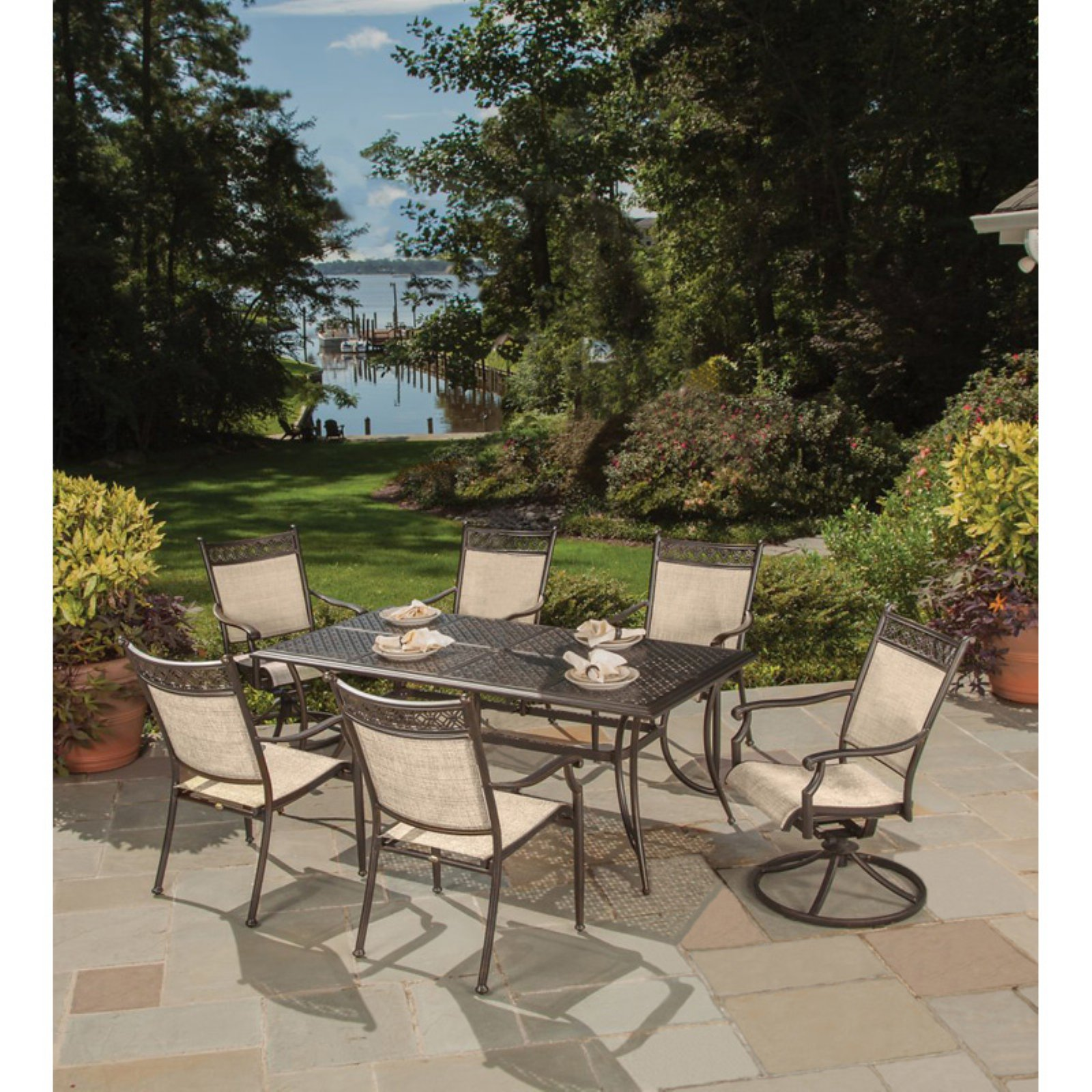 Oakland Living Bali Aluminum 7 Piece Rectangular Patio Dining Set with Optional Umbrella