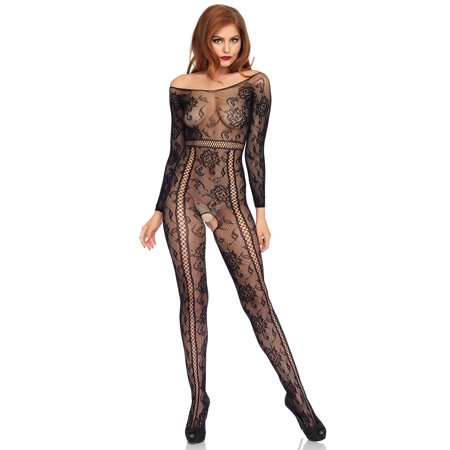 Women's Seamless Lace Long Sleeved Bodystocking, Black, O/S - Lace Long Sleeved Bodystocking