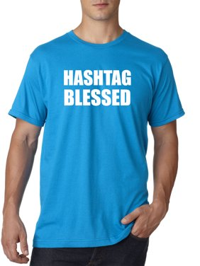 Trendy USA 395 - Unisex T-Shirt Hashtag Blessed Meme Kanye Drake 2XL Sapphire