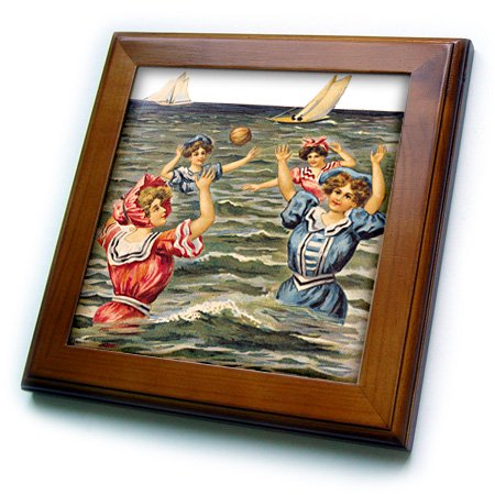 3dRose Women in Victorian Bathing Suits Playing Ball in the Ocean - Framed Tile, 6 by 6-inch