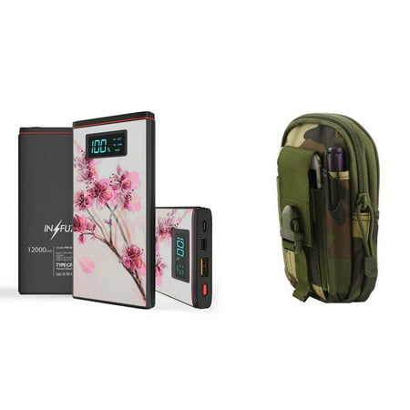 INFUZE Slim Pocket 12000mAh Portable Charger Dual (USB-A, USB-C) 18W QC 3.0 Power Bank (Cherry Blossom), Tactical Organizer Pouch (Jungle Camo) for Samsung Galaxy J7 (J7 V 2nd Gen, Star, Crown) ()