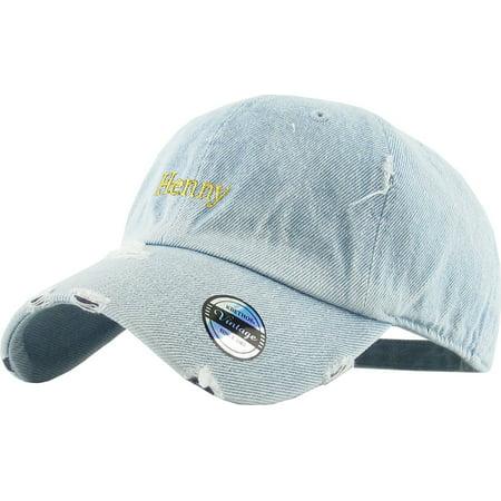 085e6c61f2388 Henny Light Denim Vintage Distressed Dad Hat Adjustable Baseball Cap ...