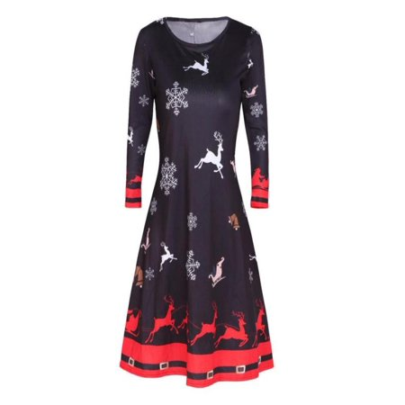 Womens Xmas Christmas Santa Skater Ladies Snowman Swing Dress - Cute Santa Dresses