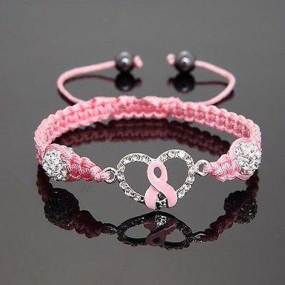 Ribbon of Hope Crystal Charm - Breast Cancer Awareness Bracelet - Cancer Sucks Bracelets