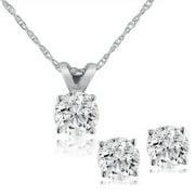 Pompeii3 Diamond Solitaire Necklace & Studs Earrings Set 1/2 Carat (Ctw) 14K White Gold