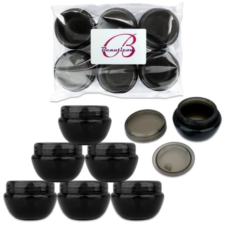 Beauticom 6 Pieces High Quality 10 Gram/10 ml Round Oval Plastic Container Jars with Inner Liner and Lid - Black ()