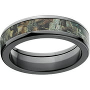 Timber Men's Camo 6mm Black Zirconium Wedding Band with Polished Edges and Deluxe Comfort Fit