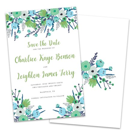 Personalized Blue & Green Floral Save The Date - Halloween Due Date Pregnancy Announcement