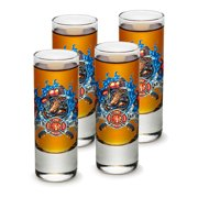 SET OF 4 Firefighters Fire Rescue First In Last Out 2 Ounce Shooter Shot Glasses