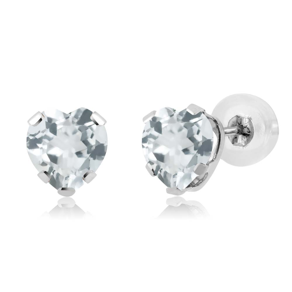 0.76 Ct Heart Shape Sky Blue Aquamarine 14K White Gold 5-prong Stud Earrings 5mm