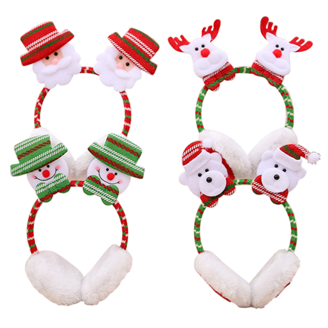 Christmas Headbands, Coxeer 4Pcs Santa Claus Snowman Elk Bear Santa Earmuffs Christmas Hair Hoop for Women Girls
