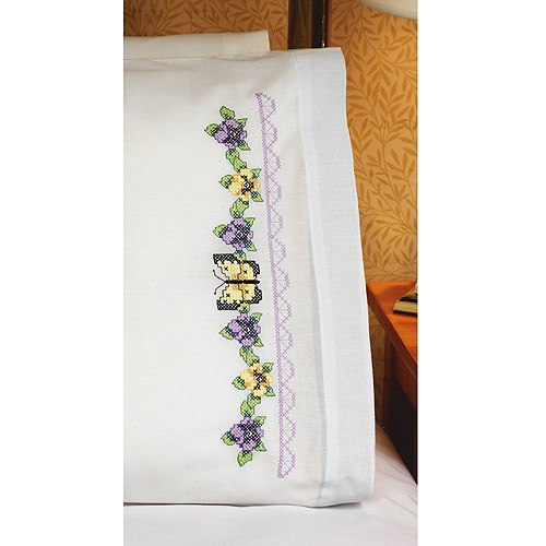 Pansies and Butterflies Pillowcase Pair Stamped Cross Stitch