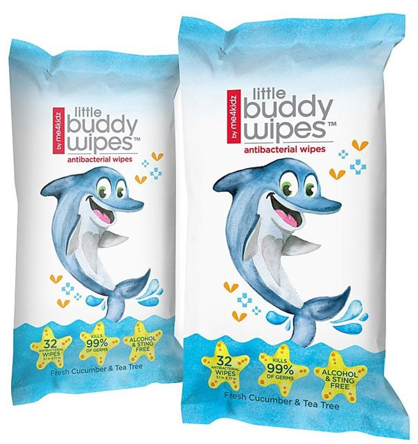 Me4kidz Little Buddy Antibacterial Wipes - Dolphin