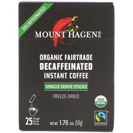 Mount Hagen  Organic Fairtrade Decaffeinated Instant Coffee  25 Single Serve Sticks  1 76 oz  50 g