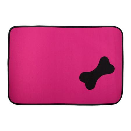 Oxford Cloth Rectangular Shaped Bone Pattern Pet Dog Doormat Mat Pad Magenta