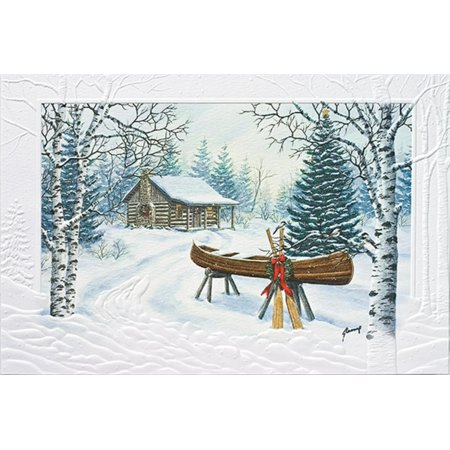 "Pack of 16 ""Christmas Canoe"" Fine Art Embossed Deluxe Christmas Greeting Cards"