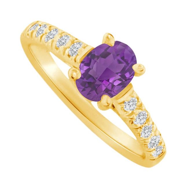 Fine Jewelry Vault UBNR82901Y148X6CZAM Oval Shaped Amethyst & CZ Ring in 14K Yellow Gold, 10 Stones