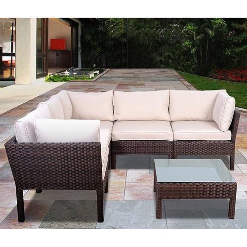 Atlantic Infinity 6-Piece All-Weather Wicker Outdoor Sofa Sectional Set, Dark Brown, Seats 4