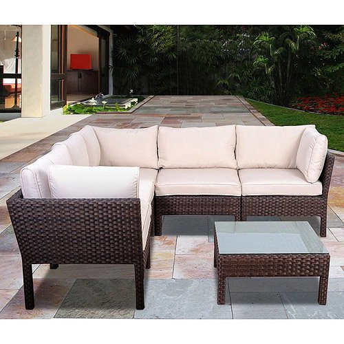 Atlantic Infinity 6 Piece All Weather Wicker Outdoor Sofa Sectional Set Dark Brown Seats 4