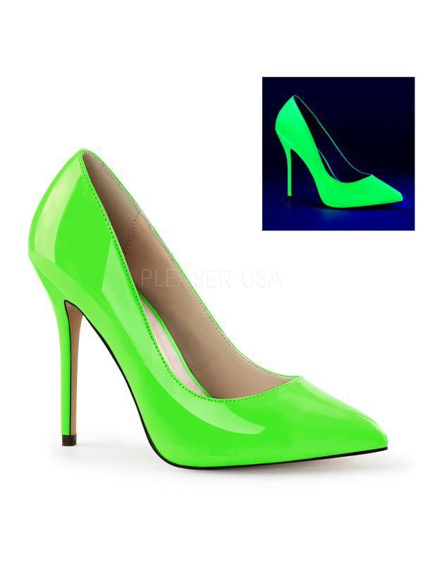 """Pleaser Single Soles 5"""" Heel Neon Green Pat Size: 6"""
