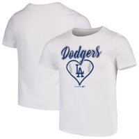 Girls Youth White Los Angeles Dodgers Basic Heart T-Shirt