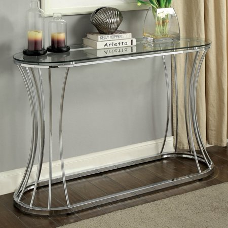Curved End Console - Furniture of America Rocca Curved Chrome Console Table