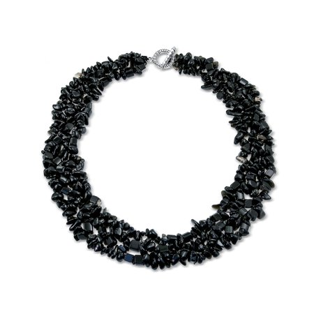 Simulated Onyx Chips Black Bib Gemstone Necklace Silver Plated ()