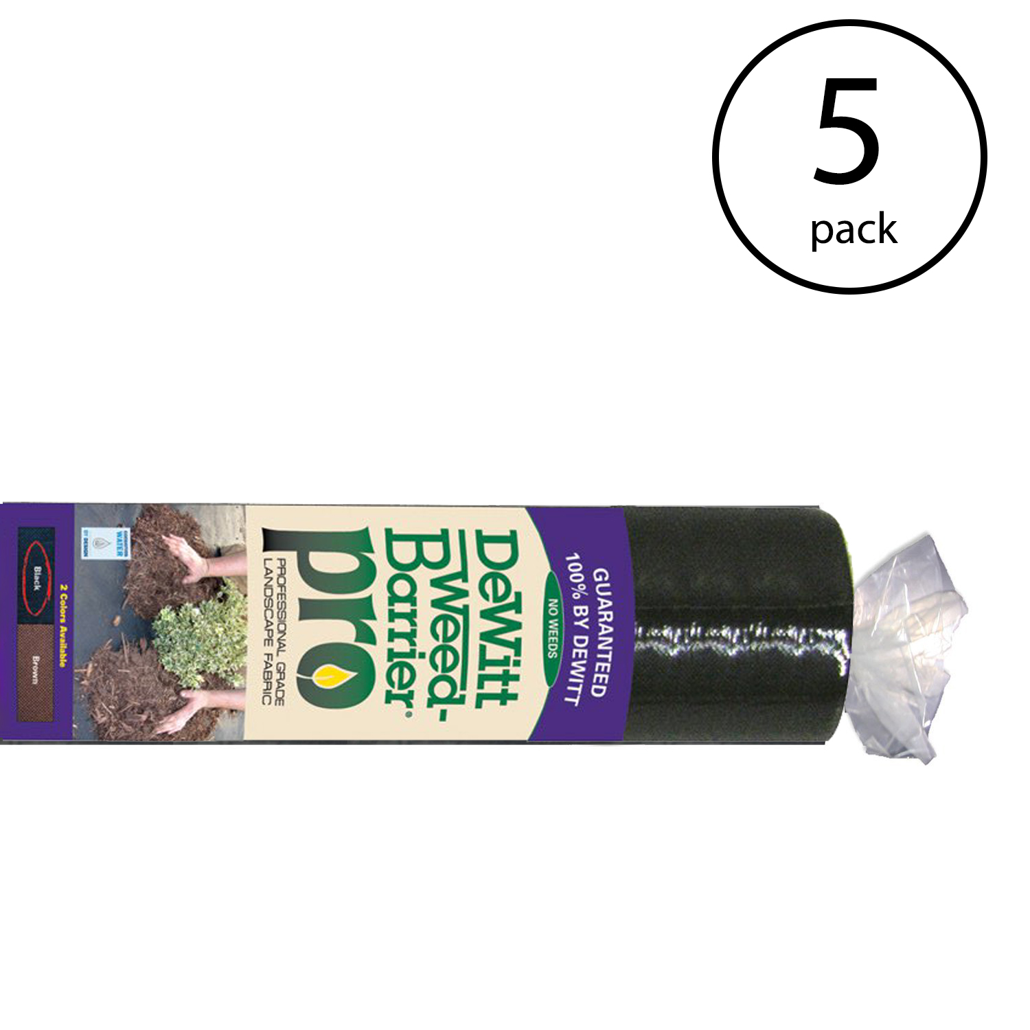 DeWitt Weed Barrier Pro 3 Ounce Landscape Fabric in Black, 4' x 100' (5 Pack)