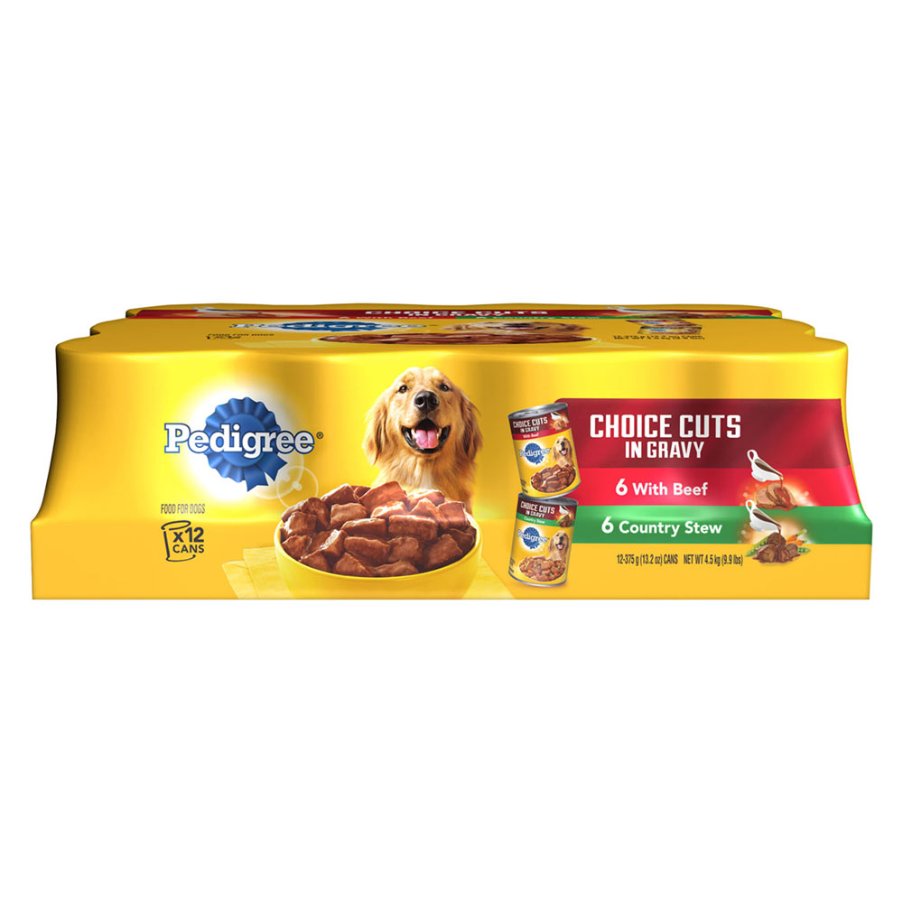 PEDIGREE CHOICE CUTS in Gravy Combo Pack Beef & Country Stew Wet Dog Food 13.2 oz. (Two 12-Counts)
