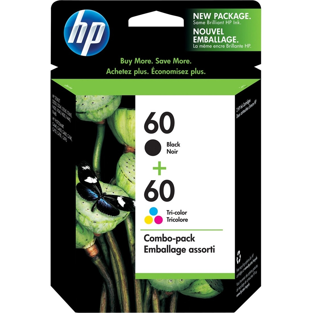 Hp 60 cz071fn 2 pack black original ink cartridges walmart fandeluxe