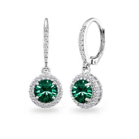 Sterling Silver Green Round Halo Dangle Leverback Earrings Made with Swarovski Crystals