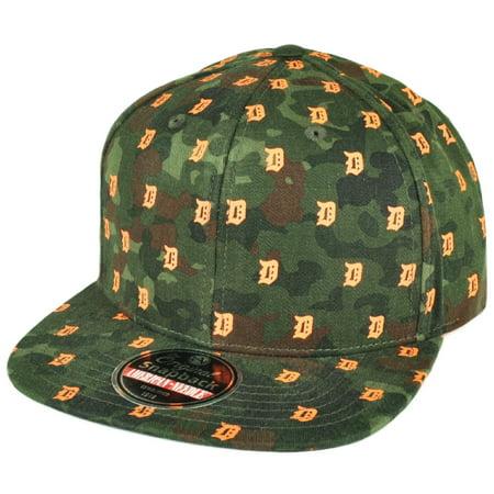 Flat Bill Baseball - MLB American Needle Detroit Tigers Flat Bill Snapback Hat Cap Mini Logos Green