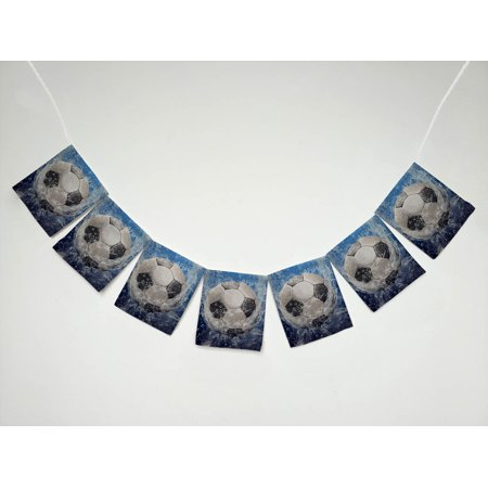 YKCG Water Drops Soccer Ball World Cup Banner Bunting Garland Flag Sign for Home Family Party - Soccer Banners