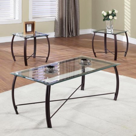 K & B Furniture T202 3 Piece Cocktail and End Table Set Copper with Bronze Finish 3 Piece Set Footboard