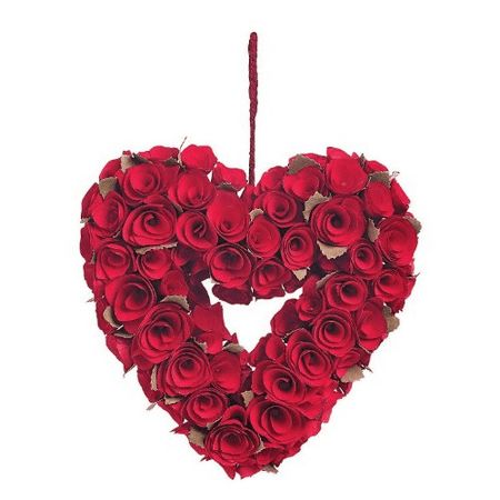 Red Rose Heart Wreath Decorations Carved Wooden Blooms Wedding Valentine's Day (Red Rose Wreath) - Valentine Wreath