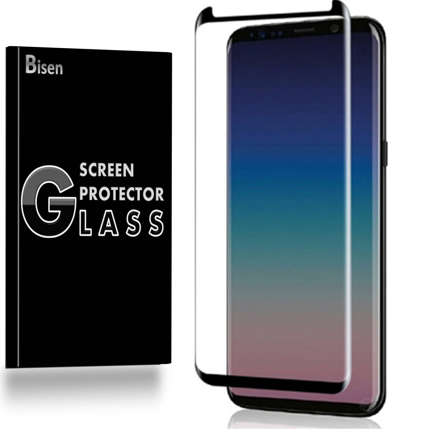 Samsung Galaxy S9+ Plus [BISEN] 3D Curved Tempered Glass Screen Protector [Full Coverage], Edge-To-Edge Protect, Anti-Scratch, Anti-Shock, Shatterproof, Bubble Free