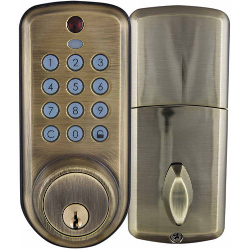 Ultra 43328 Antique Brass Keypad Deadbolt