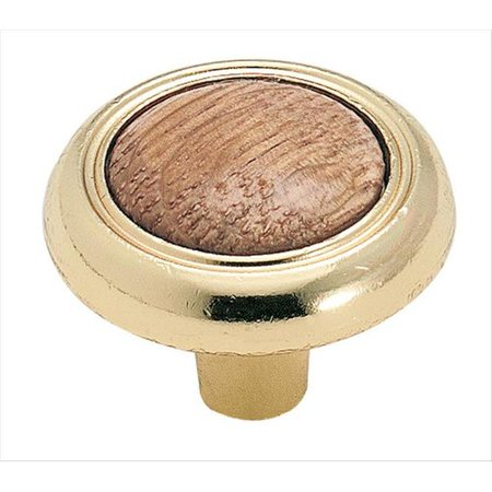 Allison Value 1-1/4 in (32 mm) Diameter Oak/Polished Brass Cabinet