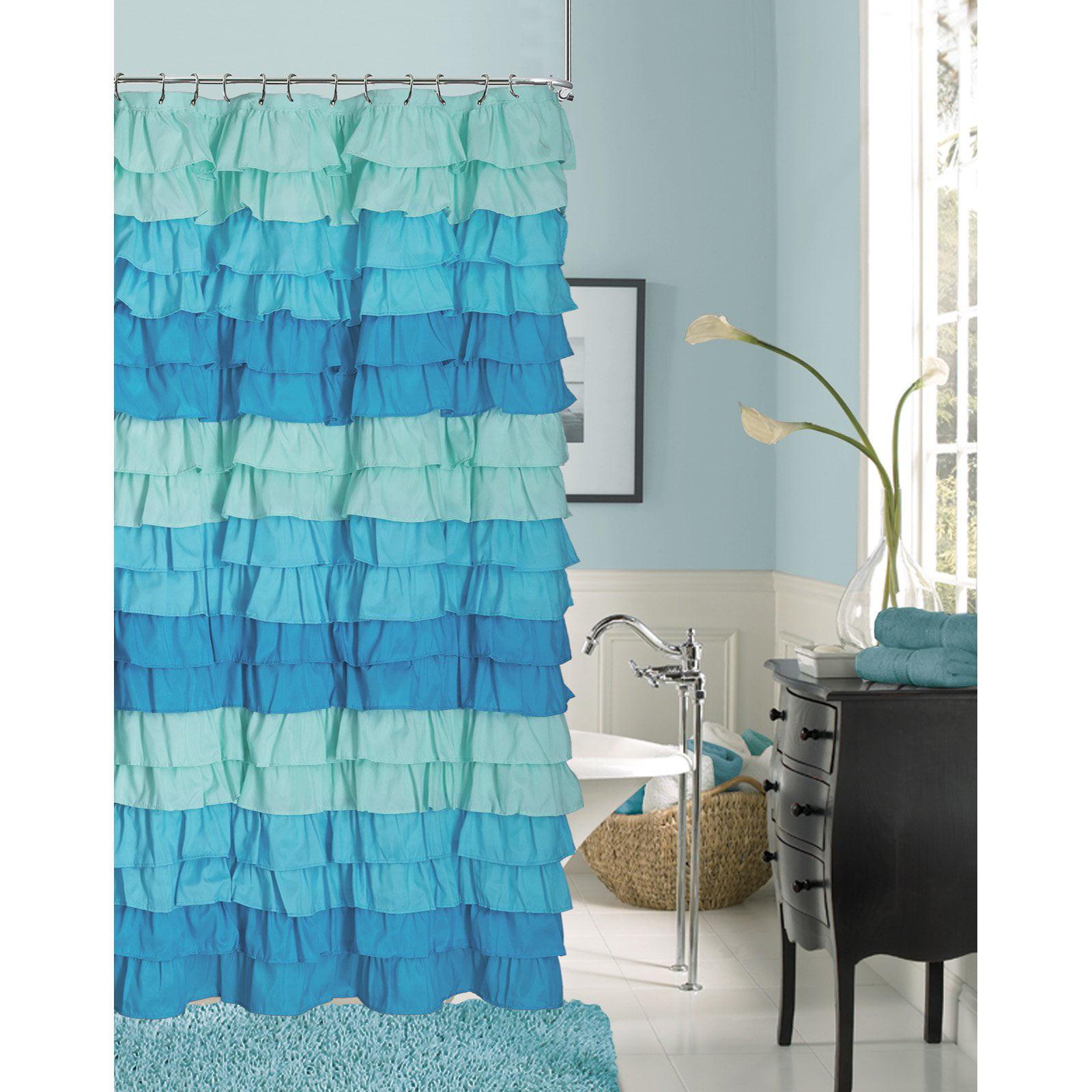 dainty home venezia ruffled shower curtain - walmart