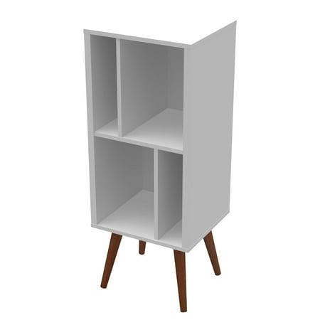 Ideaz International 23602 Medium Cubby Bookcase White Satin Satin Nickel Bookshelf