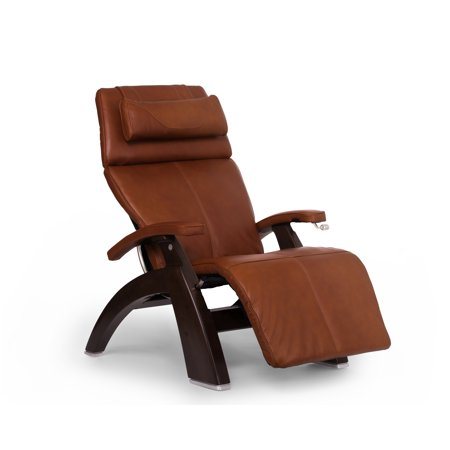 Premium Italian Leather Recliner - Human Touch PC-420 Classic Manual PLUS Perfect Chair Series 2 Power Recline Dark Walnut Wood Base Zero-Gravity Recliner - Cognac Premium Leather - In-Home White Glove Delivery