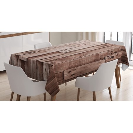 Floor Cloth Designs - Wooden Tablecloth, Vintage Barn Shed Floor Wall Planks Sepia Art Old Natural Plywood Lodge Image Print, Rectangular Table Cover for Dining Room Kitchen, 52 X 70 Inches, Grey Brown, by Ambesonne