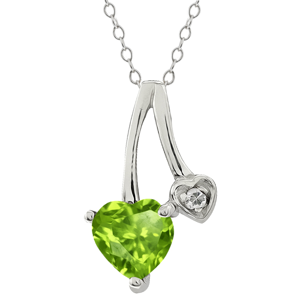 0.84 Ct Heart Shape Green Peridot and White Topaz Sterling Silver Pendant