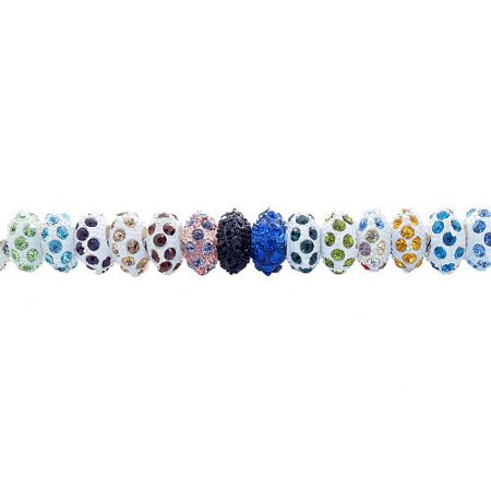 Hole Rhinestone (10 Rhinestone Color Assorted Pieces of Resin European Beads, Grade A Rhinestones, Size: 6 x 12mm, Hole:)