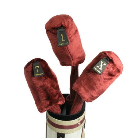 Pro Source Long Neck 3-PC Set Fur-Knit Golf Club Headcovers - Maroon (Top-sonnenbrillen Für Golf)