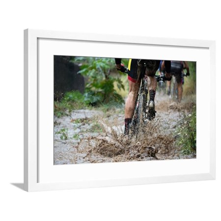 Upstream Framed - Mountain Bikers Driving in Rain Upstream Creek Framed Print Wall Art By Pavel1964