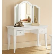 NE Kids Walnut Street Vanity with Mirror and Chair in White